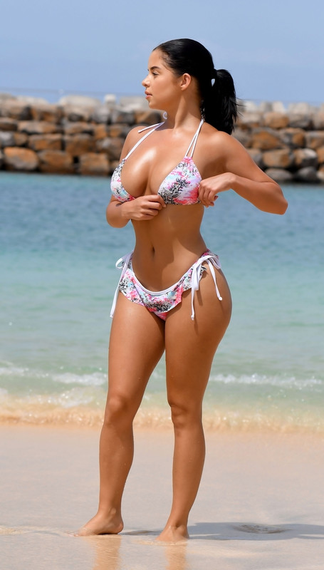 Demi Rose enjoyed the ocean in her tiny bikini while on holiday at, Cape Verde