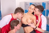 Ana Rose, Cayla Lions in locker room orgy 07-14