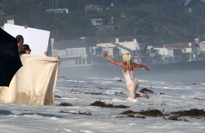 Lady Gaga was spotted in a bikini for a photo shoot on the beach in Malibu